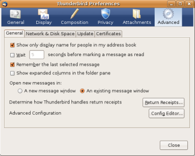 Thunderbird Advanced Preferences